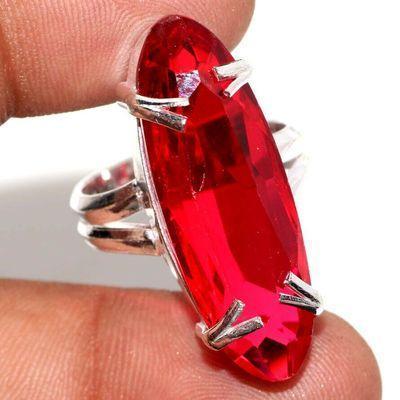 Trm 500a bague chevaliere anneau t59 tourmaline 10gr 10x32mm rouge achat vente bijou argent 925