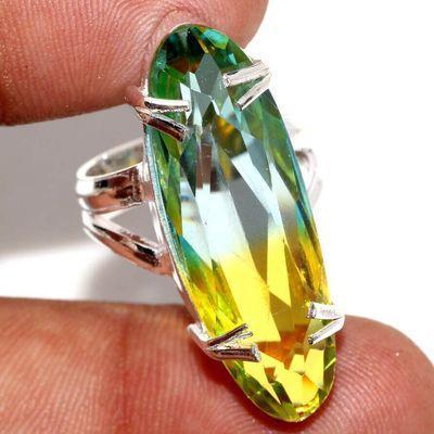 Trm 503a bague chevaliere anneau t54 tourmaline 8gr 10x32mm verte bleue vente bijou argent 925
