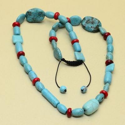 Tur 047a collier egyptien sautoir parure turquoise bleue achat vente bijou pierre naturelle