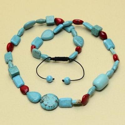 Tur 053d collier egyptien sautoir parure turquoise bleue achat vente bijou pierre naturelle