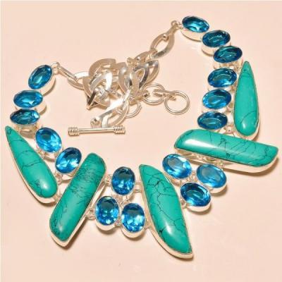 Tur 054a collier egyptien sautoir parure turquoise topaze bleue achat vente bijou pierre naturelle