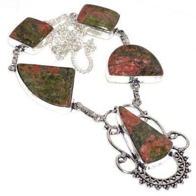Un 001a collier parure unakite 45gr achat vente bijou pierre lithotherapie argent 925