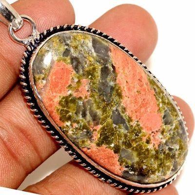 Un 004c pendentif pendant unakite 18gr 28x50mm achat vente bijou lithotherapie argent 925