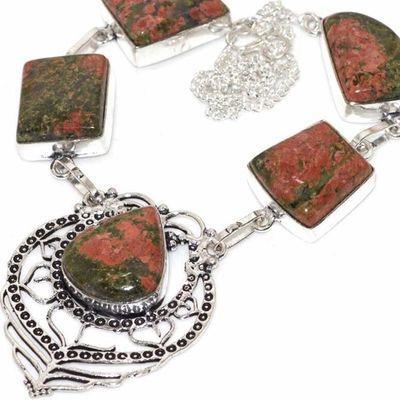Un 012b collier parure unakite 44gr achat vente bijou pierre lithotherapie argent 925