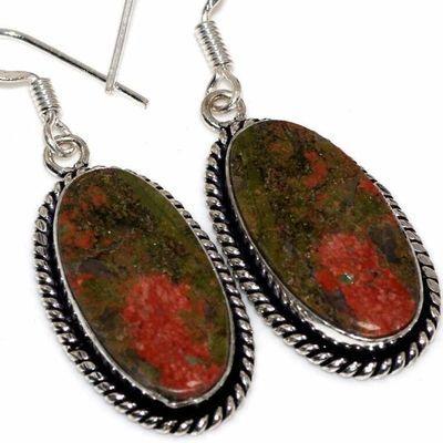 Un 013c boucles pendants oreilles unakite 11gr 14x28mm achat vente bijou lithotherapie argent 925