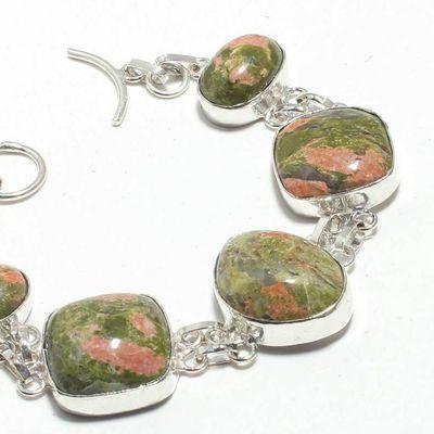 Un 015b bracelet unakite 31gr 15x20mm achat vente bijou mineraux lithotherapie argent 925