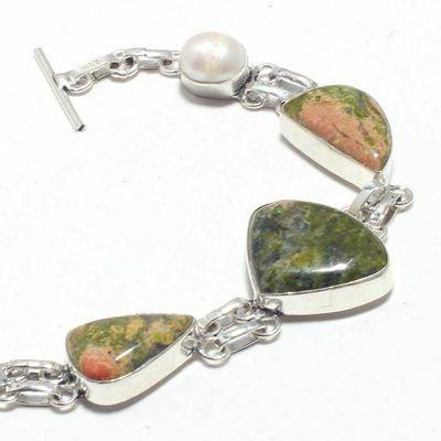 Un 016b bracelet unakite perle 21gr 15x20mm achat vente bijou lithotherapie argent 925