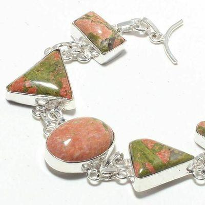 Un 021b bracelet unakite 26gr 15x20mm achat vente bijou mineraux lithotherapie argent 925
