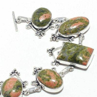 Un 022b bracelet unakite 47gr 15x20mm achat vente bijou mineraux lithotherapie argent 925