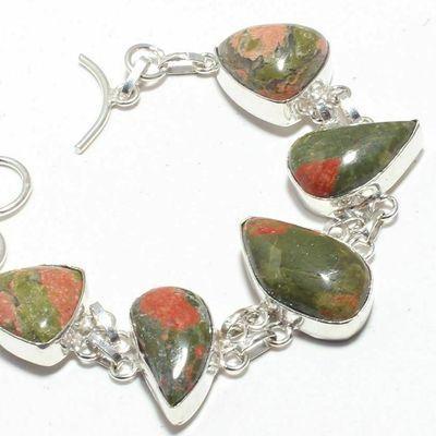 Un 023b bracelet unakite 30gr 15x20mm achat vente bijou mineraux lithotherapie argent 925