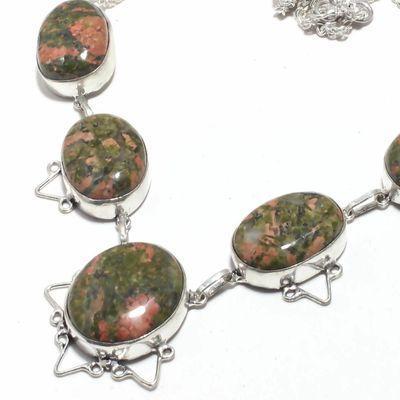 Un 028b collier parure unakite 55gr 20x28mm achat vente bijou pierre lithotherapie argent 925