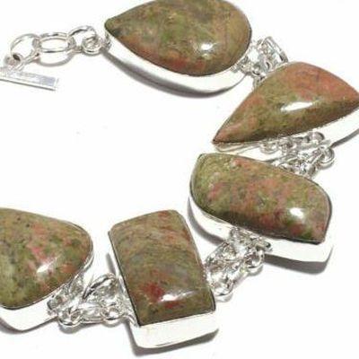 Un 035b bracelet unakite 41gr 15x30mm achat vente bijou mineraux lithotherapie argent 925
