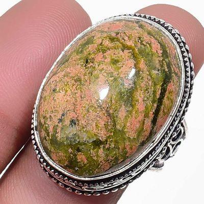 Un 036a bague chevaliere unakite 15gr t59 18x26mm achat vente bijou pierre argent 925