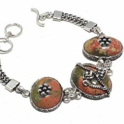 Un 038b bracelet unakite 33gr 15x20mm achat vente bijou mineraux lithotherapie argent 925
