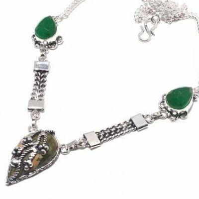 Un 039b collier parure unakite emeraude 22gr achat vente bijou pierre lithotherapie argent 925