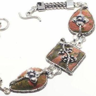 Un 040b bracelet unakite 22gr 15x20mm achat vente bijou mineraux lithotherapie argent 925