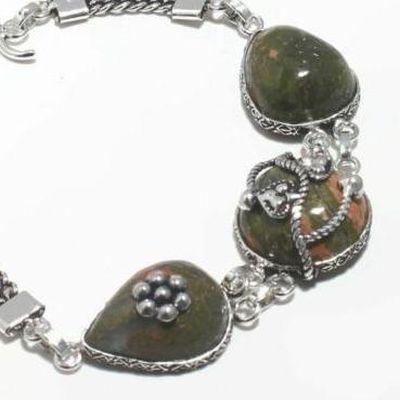 Un 043b bracelet unakite 23gr 15x20mm achat vente bijou mineraux lithotherapie argent 925