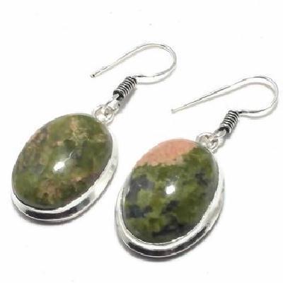 Un 044c boucles pendants oreilles unakite 12gr 15x20mm achat vente bijou lithotherapie argent 925