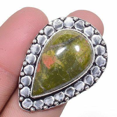 Un 045a bague chevaliere unakite 12gr t57 16x26mm achat vente bijou pierre argent 925