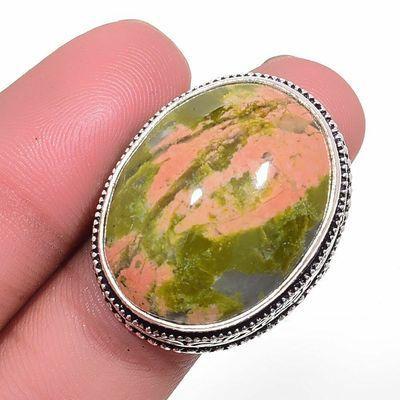 Un 046a bague chevaliere unakite 16gr t61 20x25mm achat vente bijou pierre argent 925