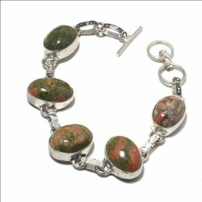 Un 049a bracelet unakite 21gr 14x18mm achat vente bijou mineraux lithotherapie argent 925
