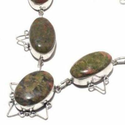 Un 057b collier parure unakite 47gr 20x30mm achat vente bijou pierre argent 925