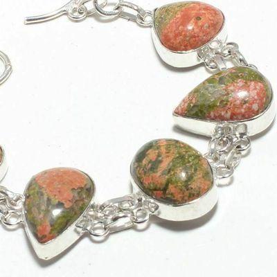 Un 060b bracelet unakite citrine 29gr 15x20mm achat vente bijou lithotherapie argent 925