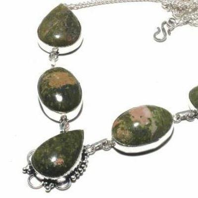 Un 061b collier parure unakite 54gr 20x30mm achat vente bijou pierre argent 925