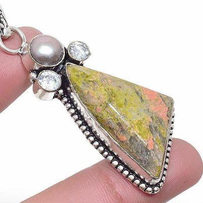 Un 062c pendentif pendant unakite 15gr 20x35mm achat vente bijou pierre argent 925