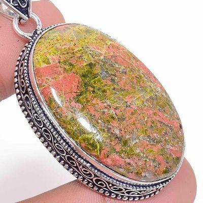 Un 064c pendentif pendant unakite 26gr 26x42mm achat vente bijou pierre argent 925