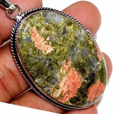 Un 067c pendentif pendant unakite 19gr 30x40mm achat vente bijou pierre argent 925