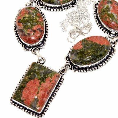 Un 070b collier parure unakite 45gr 20x30mm achat vente bijou pierre argent 925