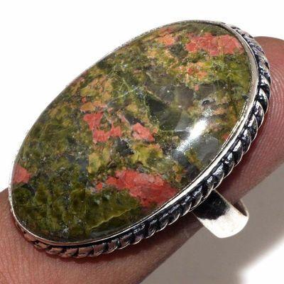 Un 075a bague chevaliere unakite 13gr t60 20x35mm achat vente bijou pierre argent 925
