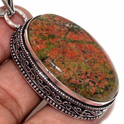 Un 077c pendentif pendant unakite 20gr 25x35mm achat vente bijou pierre argent 925