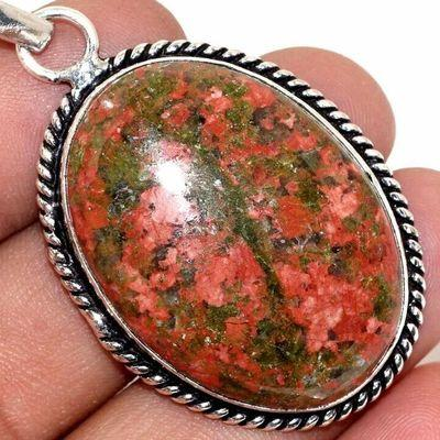 Un 080c pendentif pendant unakite 16gr 25x35mm achat vente bijou pierre argent 925