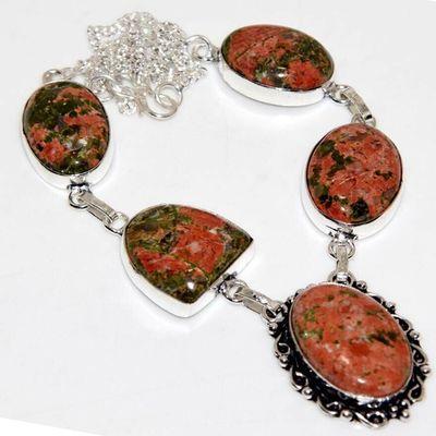 Un 082a collier parure unakite 29gr 20x25mm achat vente bijou pierre argent 925