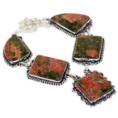 Un 083a collier parure unakite 52gr 20x25mm achat vente bijou pierre argent 925