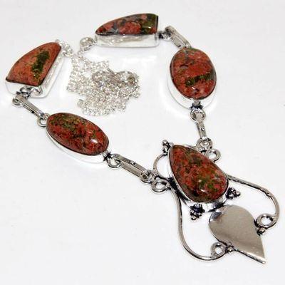 Un 084a collier parure unakite 29gr 20x10mm achat vente bijou pierre argent 925
