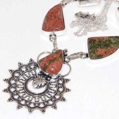 Un 086b collier parure unakite 34gr 20x15mm achat vente bijou pierre argent 925