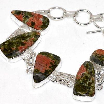 Un 088b bracelet unakite 23gr 15x20mm achat vente bijou lithotherapie argent 925