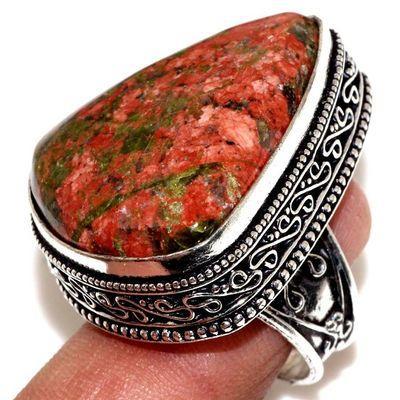 Un 098a bague chevaliere unakite 19gr t57 25x30mm achat vente bijou pierre argent 925