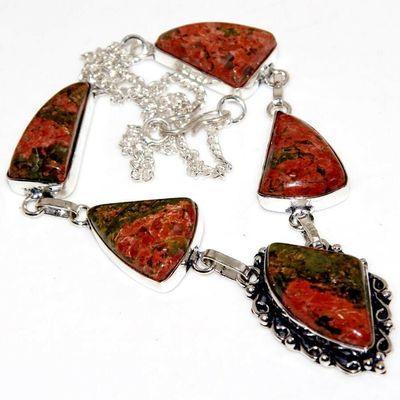 Un 111a collier parure unakite 28gr 15x25mm achat vente bijou pierre argent 925