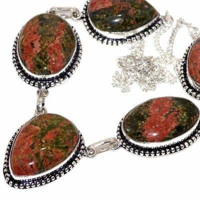 Un 114b collier parure unakite 50gr 28x20mm achat vente bijou pierre argent 925