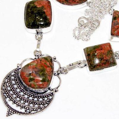 Un 116b collier parure unakite 37gr 30x20mm achat vente bijou pierre argent 925