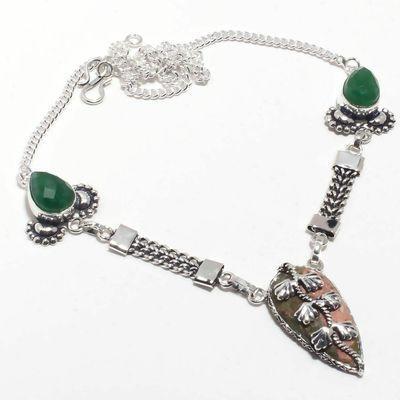 Un 119a collier parure unakite emeraude 23gr 18x32mm achat vente bijou pierre argent 925