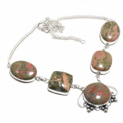 Un 120a collier parure unakite 54gr 20x26mm achat vente bijou pierre argent 925