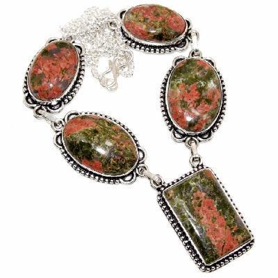 Un 121a collier parure unakite rose verte 47gr 15x30mm achat vente bijou pierre argent 925