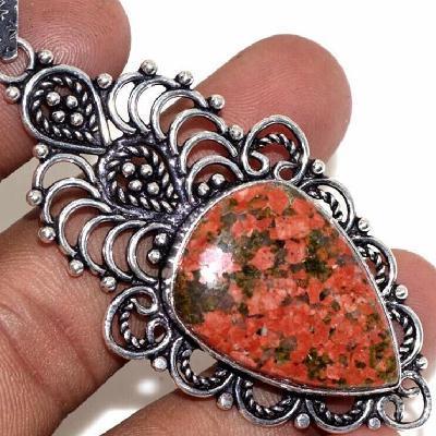 Un 123c pendentif pendant 75mm unakite rouge 15gr 20x30mm achat vente bijou pierre argent 925